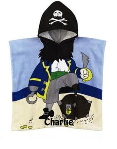 Pirate Hooded Cotton Beach Towel Poncho Personalized by CACBaskets on Etsy