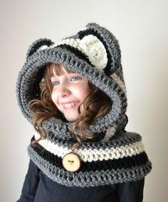 Raccoon Hat Raccoon Hoodie Raccoon Cowl by MegansMenagerie