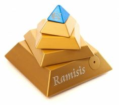 metal puzzle box | Ramisis Metal Brain Teaser Puzzle Gold and Blue In Leather Box