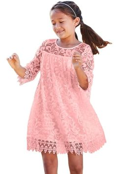 Girls Pink Floral Lace Day Dress