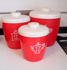 3 Pieces CANISTER Set - Tea, Coffee, Sugar, RED Plastic - Retro Made in Columbus, Ohio USA by SecondhandNel on Etsy https://www.etsy.com/listing/219310701/3-pieces-canister-set-tea-coffee-sugar