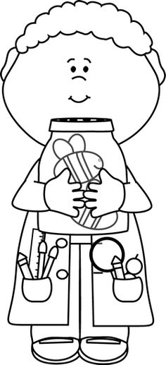 Black And White Boy Scientist With Jar Of Bees Clip Art