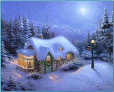 Thomas Kinkade Silent Night painting for sale, this painting is available as handmade reproduction. Shop for Thomas Kinkade Silent Night painting and frame at a discount of off. Thomas Kinkade Art, Thomas Kinkade Christmas, Snow Scenes, Winter Scenes, Kinkade Paintings, Oil Paintings, Thomas Kincaid, Art Thomas, Theme Noel