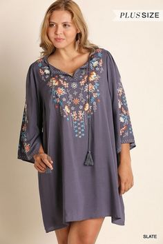 Umgee floral embroidered long bell sleeve Boho Dress tunic plus XL 1X 2X   Clothing, Shoes & Accessories, Women's Clothing, Dresses   eBay!