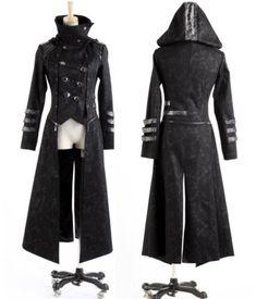 Fashion-Unisex-Punk-Streampunk-Visual-Kei-Gothic-Long-short-Jacket-Coat-Hoodie