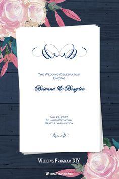 Navy Blue Calligraphic Flourish, DIY Wedding Programs, You Edit & Print.