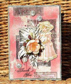 A mixed media Thank You card using BoBunny Winter Wishes