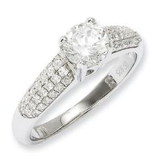 .925 Sterling Silver CZ Engagement Ring Sterling Silver CZ Jewelry Available Exclusively at Gemologica.com