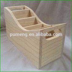 Pine Wooden Tool Box Caddy Office Desk Supplies Holder