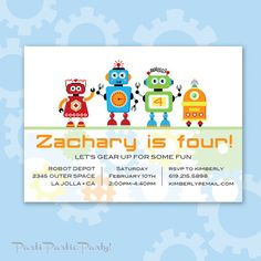 Robot Invitation Robots Robot Invite Robot by PartiPartieParty