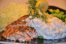 Creme Fraiche Sauce, Good Food, Yummy Food, Swedish Recipes, Baked Salmon, Fish Recipes, Yummy Recipes, Holiday Recipes, Seafood