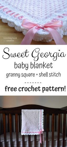 Free crochet pattern for heirloom baby blanket using granny square and shell sti. Free crochet pattern for heirloom baby blanket using granny square and shell stitch with ribbon and Crochet Blanket Edging, Crochet Baby Blanket Free Pattern, Crochet Edging Patterns, Baby Patterns, Knitting Patterns, Kids Knitting, Knitting Projects, Crochet Stitches, Crochet Projects