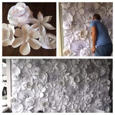 Paper flower wedding backdrop.. DIY wedding decorations on a budget.. Possible photo backdrop