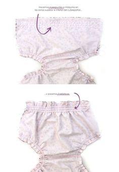 Baby diaper cover - Pattern and DIY tutorial-, DIY Baby Diaper Cover - Tutorial and Pattern. Baby Dress Patterns, Baby Clothes Patterns, Crochet Baby Clothes, Clothing Patterns, Baby Outfits, Kids Outfits, Diaper Cover Pattern, Baby Bloomers, Little Girl Dresses
