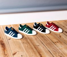 """adidas Originals Superstar """"Suede Classics"""" pack. Featuring four variants of the simplistic design in tonal hues of Blue, Black, Red and Green"""