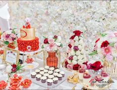 A custom twist on our Karen flower wall here, looking absolutely gorgeous with a red and gold dessert table set up! Gold Dessert Table, Table Set Up, Flower Wall, Absolutely Gorgeous, Table Settings, Walls, Parties, Table Decorations, Flowers