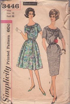 Simplicity 3446 Vintage 50's Sewing Pattern LOVELY Slenderette Tie Collar Rockabilly Sheath Dress, Flared Skirt Cocktail Party Dress #MOMSPatterns