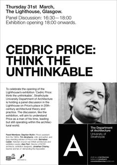 Cedric Price: Think the Unthinkable at the Lighthouse, Glasgow. Opening 31st March.