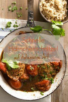 Schnelle Hähnchenschnitzel mit gerösteten Tomaten und Marsala - fertig in nur 15 Minuten! |Zeit: 15 Minuten | Kalorien: 237 kcal | http://eatsmarter.de/rezepte/schnelle-haehnchenschnitzel