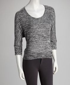 Take a look at this Black Variegated Dolman Sweater by Nombre on #zulily today!