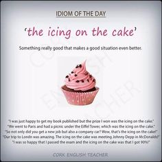 """Expression """"Icing on the cake"""" #learnenglish @Antri Parto"""