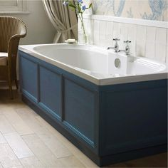 Explore our Old England range of quality traditional bathroom furniture like these Indigo Bath Panels. Delivery throughout England & Wales! Bathroom Bath, Family Bathroom, Bathroom Layout, Bathroom Vanities, Makeup Vanities, Bath Tubs, Bathroom Ideas, Bath Front Panel, Tiled Bath Panel
