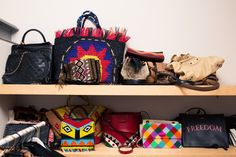Inside Anna Dello Russo's Prodigy, Chiara Totire's Closet: When we arrived to her three-story loft-style home in Milan, Totire led us straight to the entire floor she had dedicated to her wardrobe. Rolling racks of blazers, leather jackets, and long, flowy dresses lined the walls. -- Colorful totes and cross body bags  |  coveteur.com