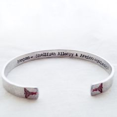 Hidden Message Medical Alert Bracelet any by faeriekissageStudio Epilepsy Awareness Month, Id Bracelets, Metal Stamping, Hand Stamped, Diy Jewelry, Messages, Diabetes, Copper, Brass