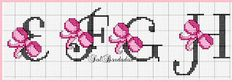 Cross-stitch Pink Ribbon ABCs, part 2 ... no color chart available, just use pattern chart as your color guide.. or choose your own colors... Gráficos Ponto Cruz Angela Bordados: alfabeto
