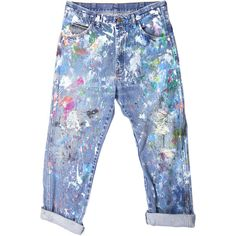 Rialto Jean Project Splatter Boyfriend Jeans ($200) ❤ liked on Polyvore featuring jeans, pants, bottoms, trousers, boyfriend fit jeans, boyfriend jeans, splatter jeans and blue jeans