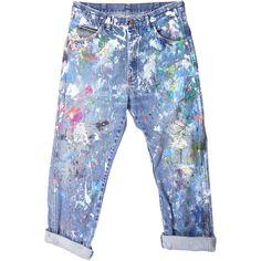 Rialto Jean Project Splatter Boyfriend Jeans (€185) ❤ liked on Polyvore featuring jeans, pants, bottoms, trousers, boyfriend jeans, splatter jeans, blue boyfriend jeans, boyfriend fit jeans and blue jeans