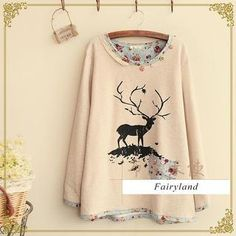 Buy Fairyland Deer Print Piped T-Shirt at YesStyle.com! Quality products at remarkable prices. FREE WORLDWIDE SHIPPING on orders over US$ 35.
