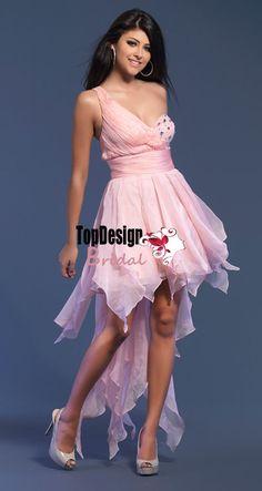 Wholesale vestido de festa one shulder beading high-low pink short prom dress 7168