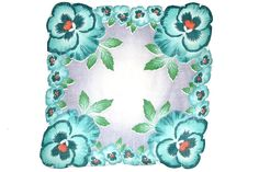 VINTAGE HANKIE Huge Turquoise Pansies on Shaded Grey Field, White Hand Rolled Hem Follows Pansy Shape, Mid Century Excellent Condition by CUSHgoods on Etsy