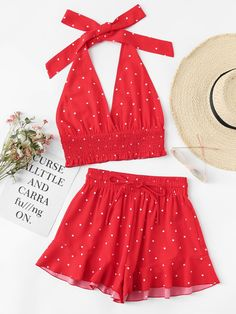 Shirred Polka Dot Halter Top & Shorts Co-Ord Backless Tropical Sets Red Vacation Sexy Two Piece Sets Teen Fashion Outfits, Mode Outfits, Girly Outfits, Dress Outfits, Girl Fashion, Dresses, Cute Summer Outfits, Cute Casual Outfits, Mode Rockabilly