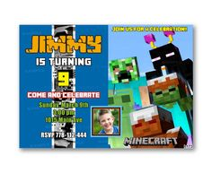 Minecraft Blade Teal Kids Birthday Invitation Party Design – Uinvites