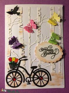 Születésnapi képeslap 3., üdvözlet, üdvözlőlap, bicikli, pillangó (Mimizuku) - Meska.hu