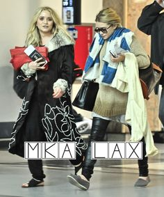 Mary-Kate and Ashley Olsen spotted at LAX. #style #fashion #olsentwins