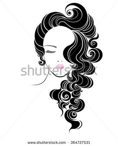 Long hair style icon, logo women face on white background, vector