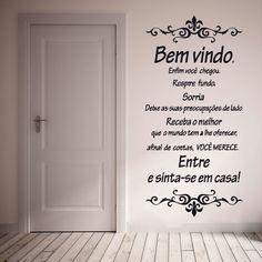 Adesivo decorativo de parede - frase, bem vindo, porta, casa.