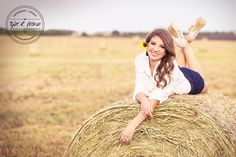 Alex McKay - Heritage High School - Class of 2015 - Senior Portraits - @neeneestiles - Hay Bales - Texas - Senior Pictures - Field - White Shirt - #seniorportraits - Ideas for Girls - Country - Tyler R. Brown Photography