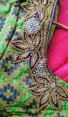 South Indian Blouse Designs, Best Blouse Designs, Simple Blouse Designs, Silk Saree Blouse Designs, Bridal Blouse Designs, Blouse Neck Designs, Aari Embroidery, Embroidery Stitches Tutorial, Hand Work Embroidery