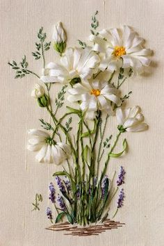 Wonderful Ribbon Embroidery Flowers by Hand Ideas. Enchanting Ribbon Embroidery Flowers by Hand Ideas. Ribbon Embroidery Tutorial, Silk Ribbon Embroidery, Embroidery Needles, Embroidery Applique, Cross Stitch Embroidery, Embroidery Patterns, Embroidery Tattoo, Embroidery Supplies, Ribbon Art