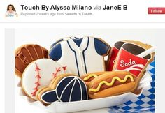12 Celebrities to Follow on Pinterest Actress and big sports fan Alyssa Milano -- who has a line of sports apparel and accessories for female sports fans called Touched by Alyssa Milano -- posts pictures of fun ballpark food, inspirational quotes and stadiums.