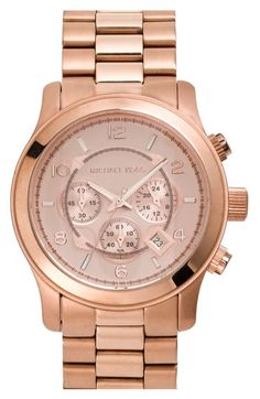 MICHAEL Michael Kors Michael Kors 'Large Runway' Rose Gold Plated Watch, 45mm available at #Nordstrom