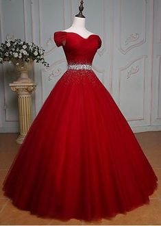 Off Shoulder ,Red Prom Dress,Ball Gown ,Cheap Prom