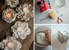 Diy Plaster Dipped Flower Votives