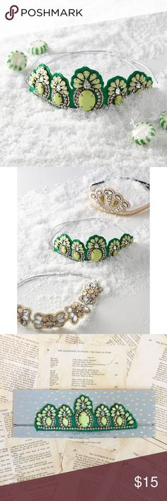 """Anthropologie Headband Anthropologie Embellished Headband. Beaded and sequined crown. Ages 4 and up. 8"""" diameter. Fits kids to adults. Polyester, plastic beads, elastic band. This listing is for the green colored band. All 3 colors are in stock. Anthropologie Accessories Hair Accessories"""