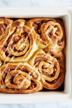 A fluffy brioche cinnamon roll dough is filled with caramelized apples to create apple pie cinnamon rolls, the dessert hybrid we've been waiting for our whole lives. Breakfast Bake, Breakfast Dishes, Breakfast Recipes, Cinnamon Roll Dough, Apple Cinnamon Rolls, Croissants, Apple Recipes, Baking Recipes, Scones