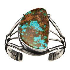 Bracelet Navajo, turquoise Royston sur argent mat | Harpo Paris #bracelet #femme #turquoise #harpo #braceletturquoise #navajo